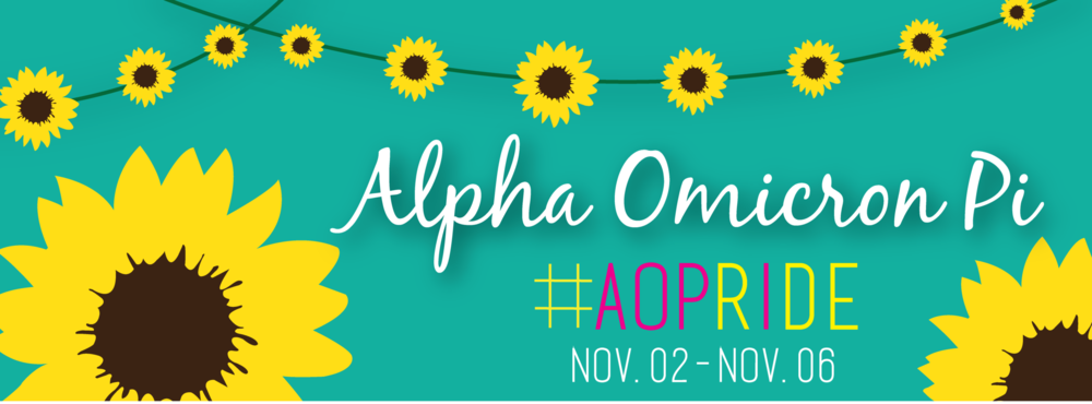 Along with the profile picture for AOII's Pride Week, I also created a cover photo for Facebook. My goal was to allow the cover photo and profile picture to work together to appear as one cohesive design.
