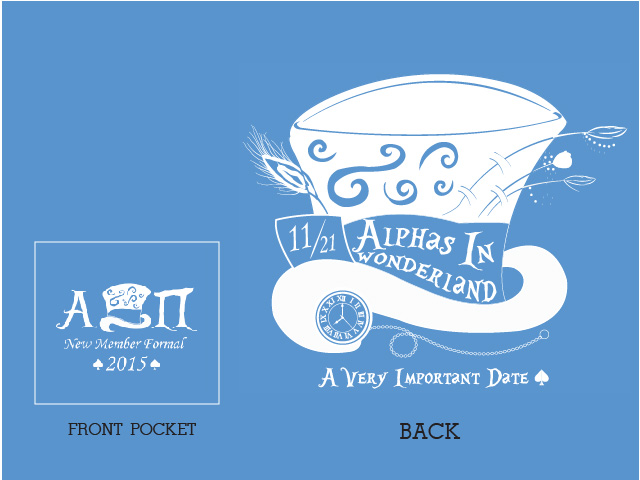 My sorority's formal was a spin on Alice in Wonderland. I drew this design first and then used Illustrator to make it come to life.