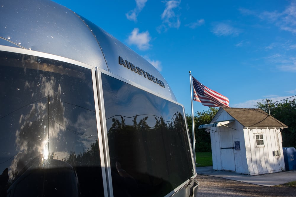 Our awesome Airstream in front of the smallest post office in the United States.