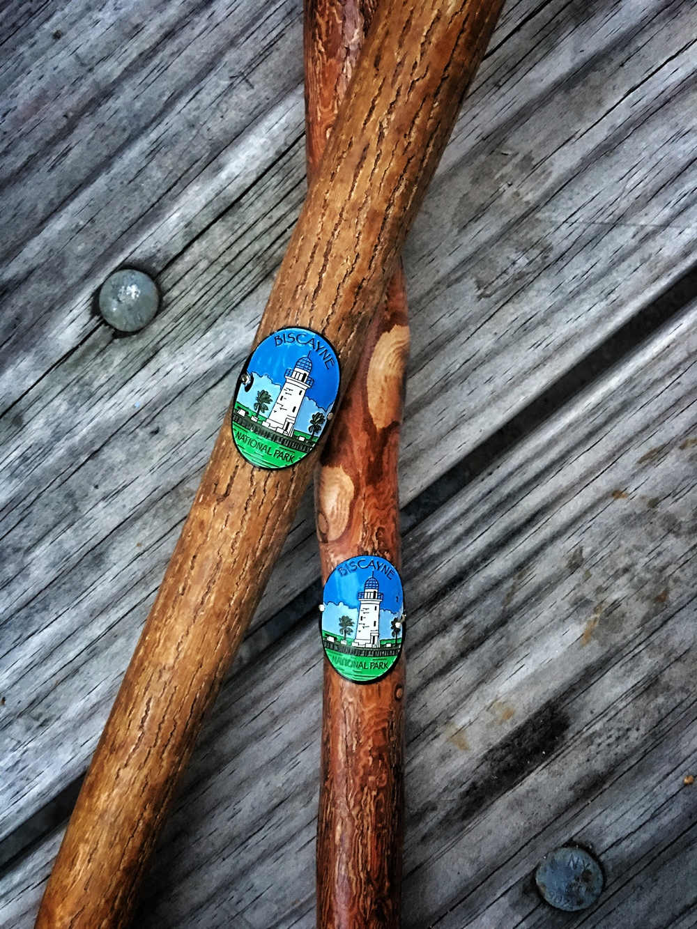 Biscayne National Park hiking stick medallions.