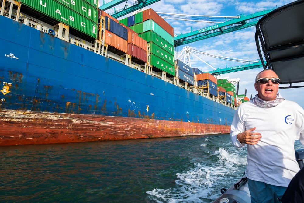 Captain Matt of Ocean Force Adventures explains the Port of Miami.   Credit: Jonathan Irish