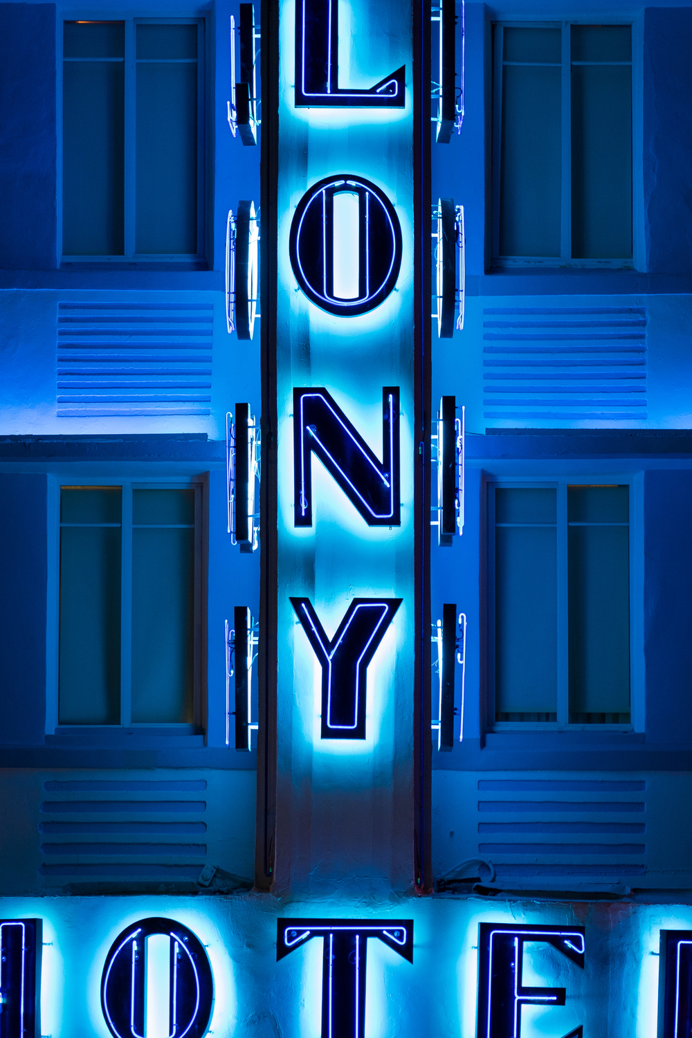 Neon blue detail in the Art Deco district.