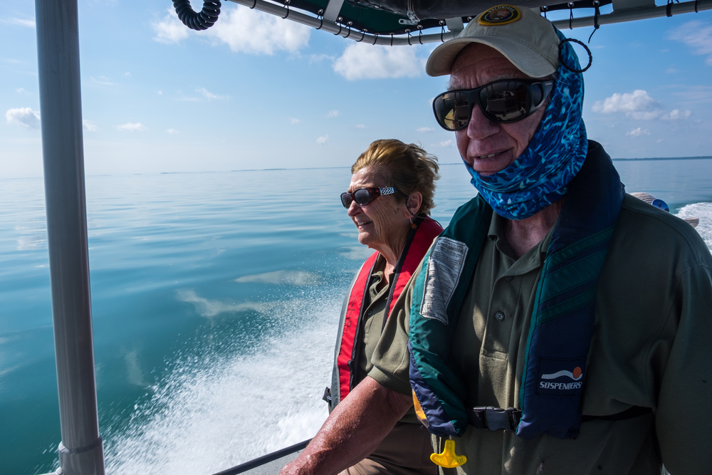 Our new friends, and volunteers,Paul and Carolyn guide us out onto the water for the day.