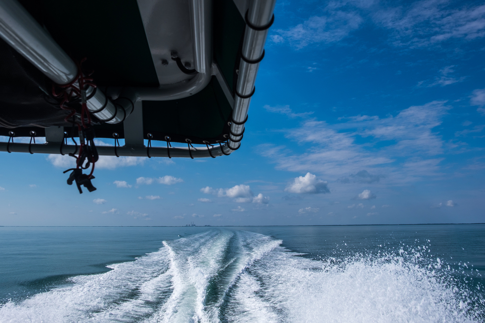 """As soon as we get out of the """"No Wake"""" zone, Paul guns it for the 7 mile trip to Boca Chita Key."""