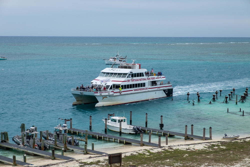 The Yankee Freedom boat brings visitors to the Dry Tortugas.