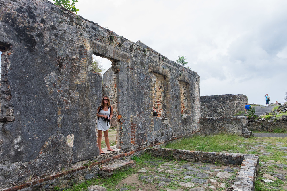 Stef taking a break to strike a pose while exploring the sugarmill ruins.