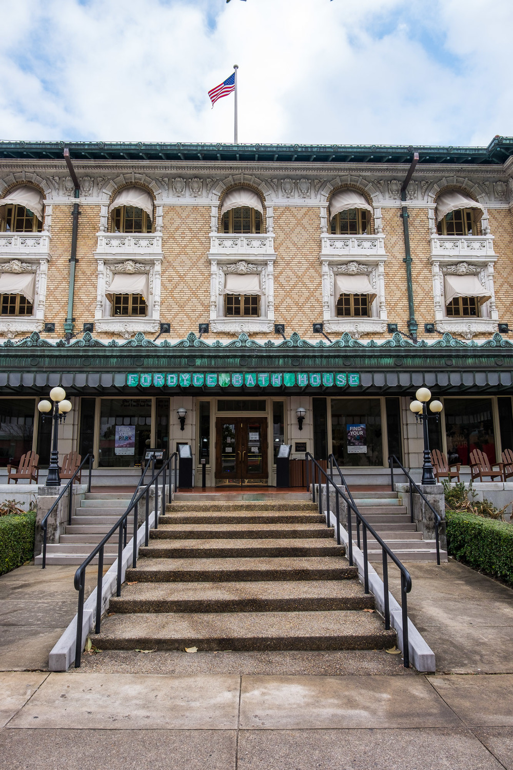 The National Park visitor center is located in the old Fordyce Bath House, which is beautifully restored and an easy visit.