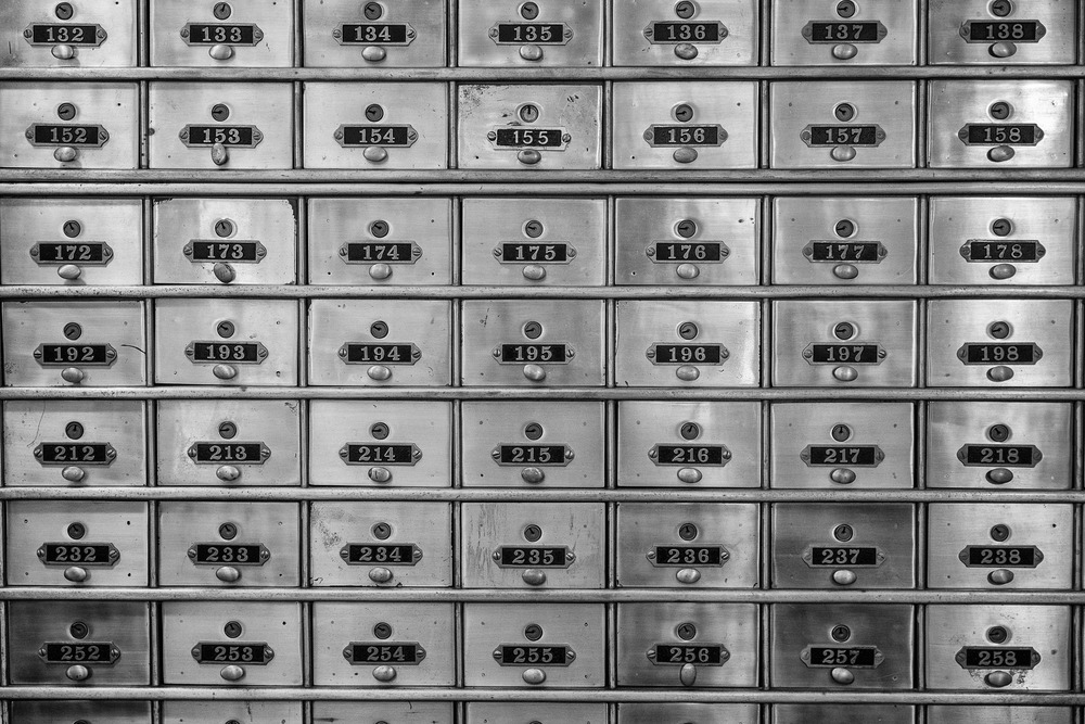 Old key/mail lockers in the Fordyce Bath House.