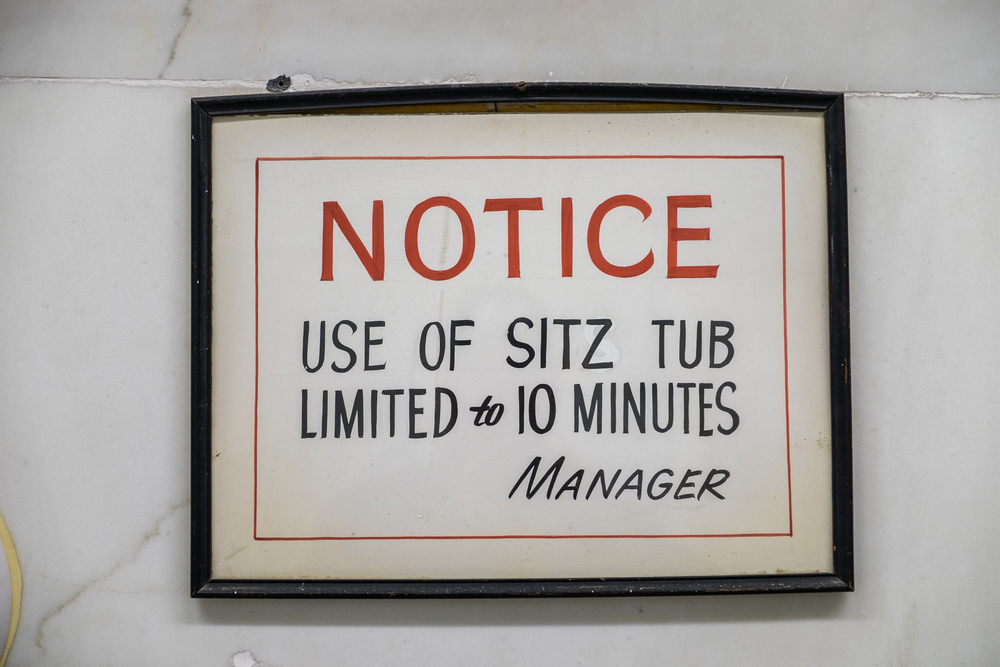 This sign boggles my mind. First, it's a tub you sit in so it should be called a Sits tub. Where did the Z come from? Also, the tub literally only covers your nether regions and was one of the more awkward experiences I've had in a bath. Why anyone would want to prolong the Sitz experience is beyond me, but apprantly it is a big enough problem that management had to weigh in. (I loved the rest of the bathing experience tho)