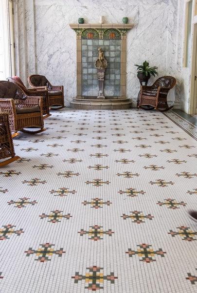 Beautifully ornate tile work (laid by hand) flourishes throughout the Fordyce Bathhouse and National Park Visitor Center.
