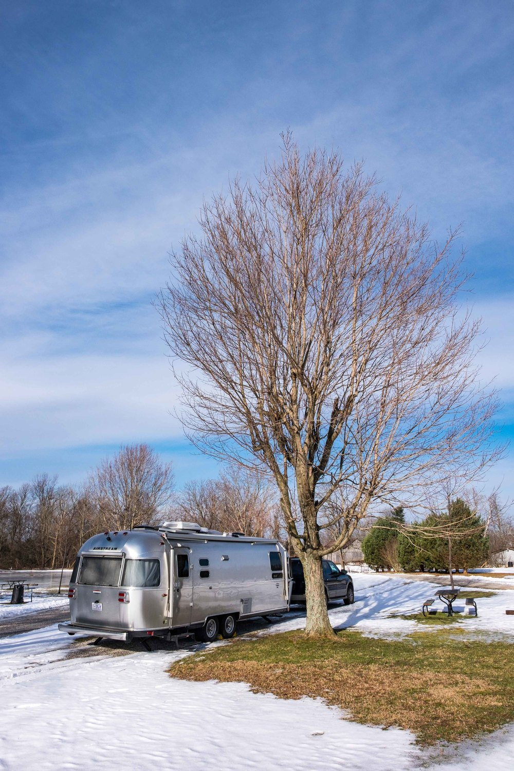 RV'ing in the snow and cold. We found a good spot to park Wally (our Airstream).
