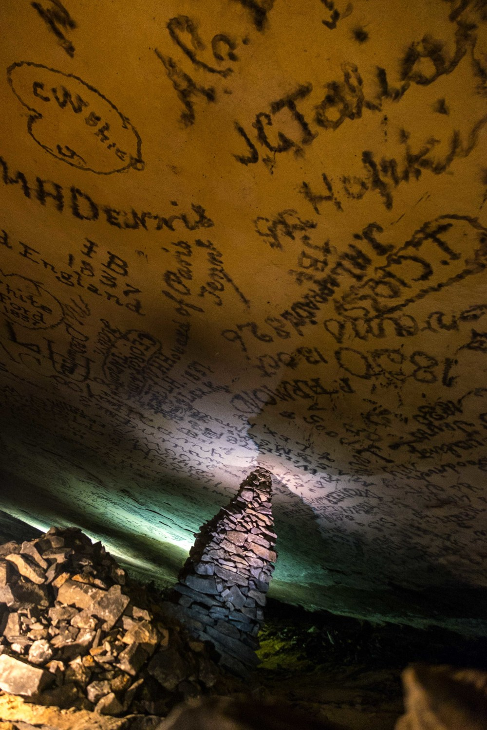 In the 19th-century cave visitors would write their names on the ceiling with candles.