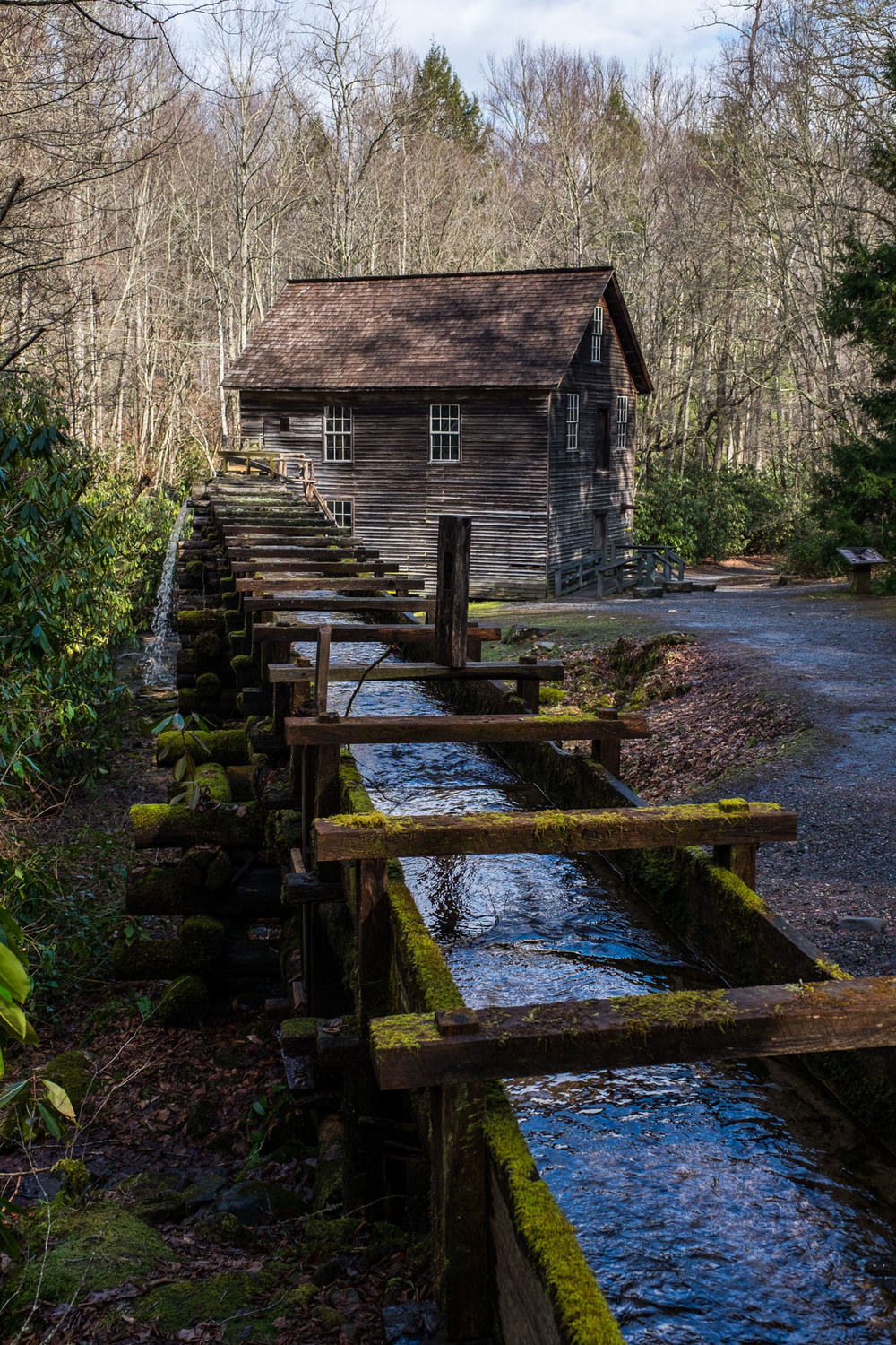 The historic Mingus Mill, and old Grist Mill located on the eastern side of the park.