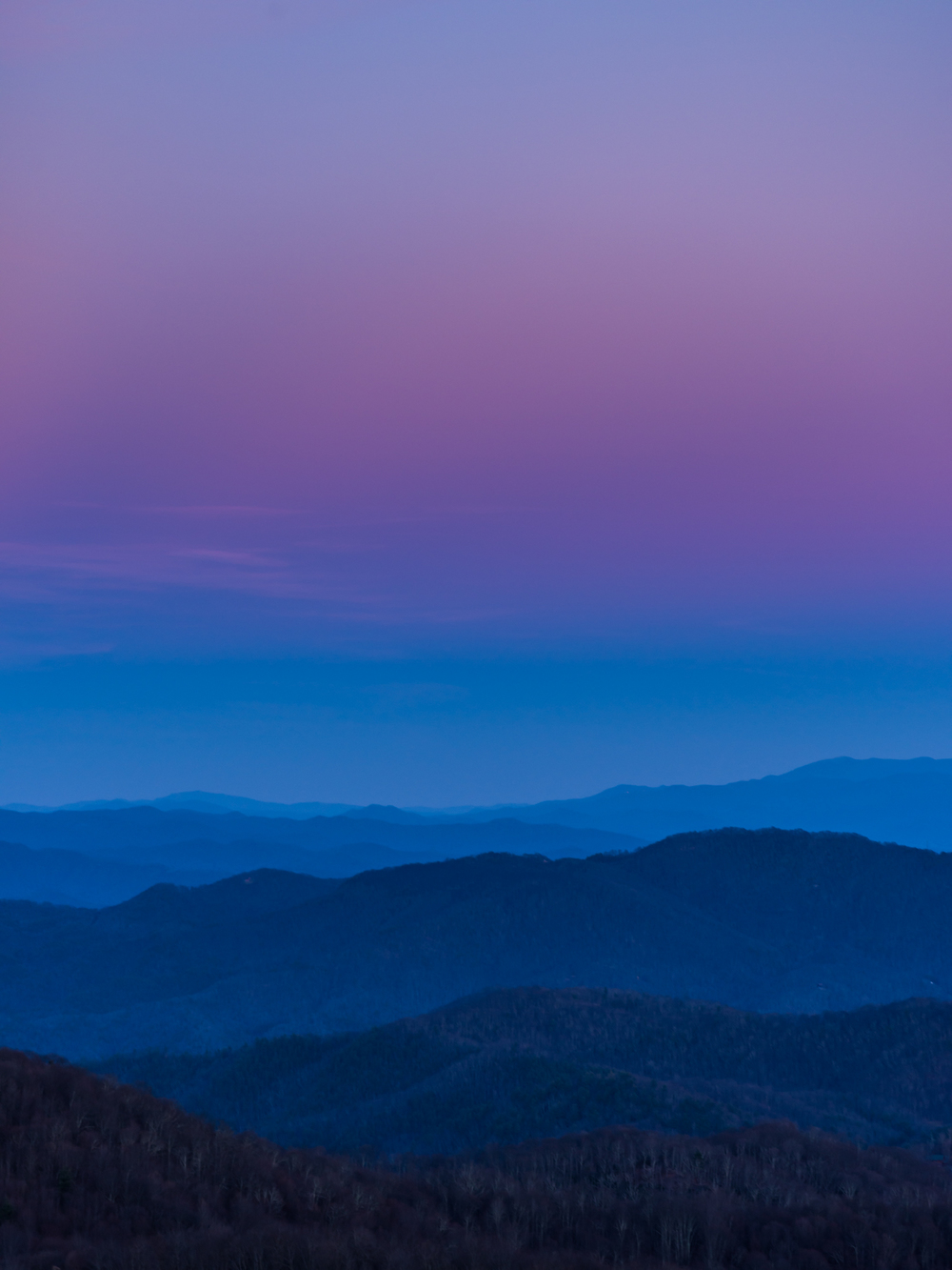 Blue hour in the Smokies.