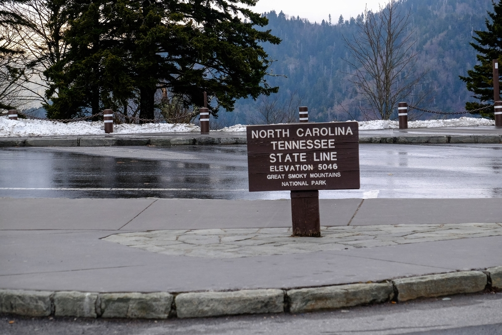 The North Carolina / Tennessee state line at Great Smoky Mountains National Park.