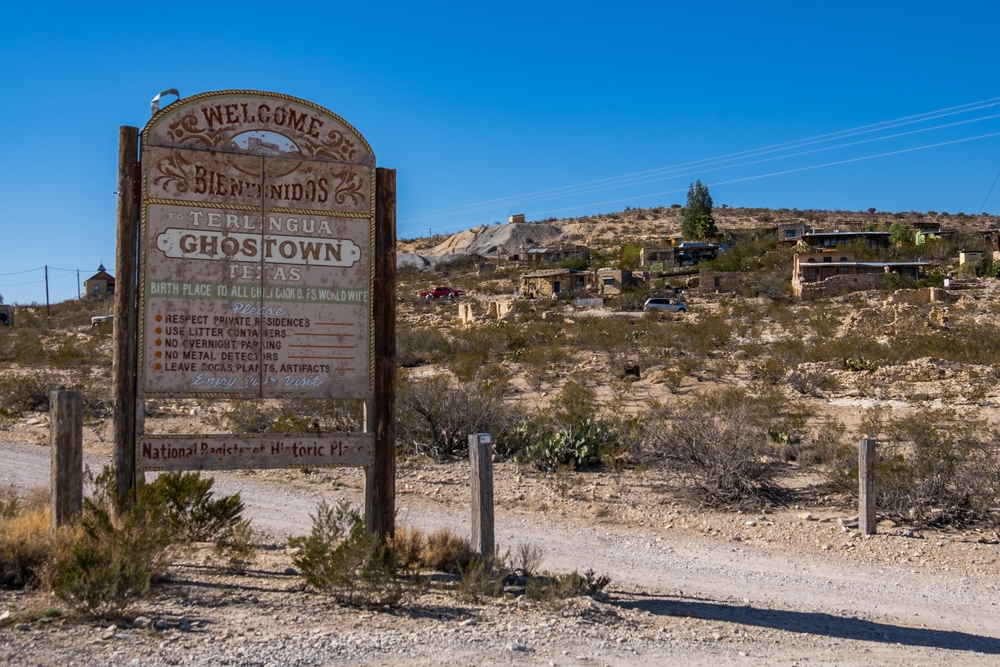 Ghost town signs at Big Bend National Park.