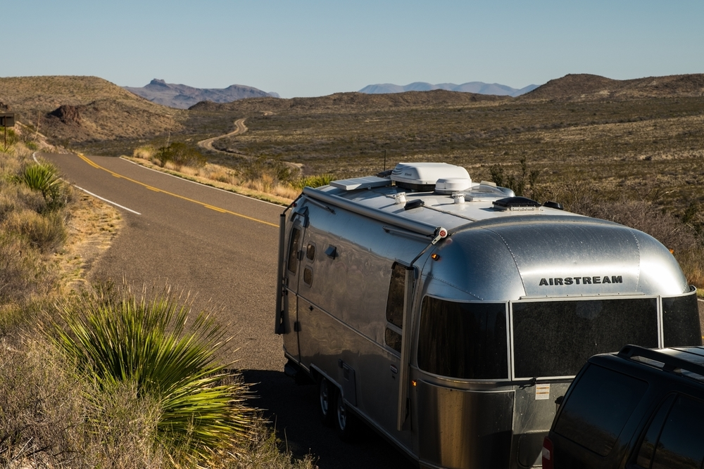 The Airstream International Signature in Big Bend National Park, west Texas.