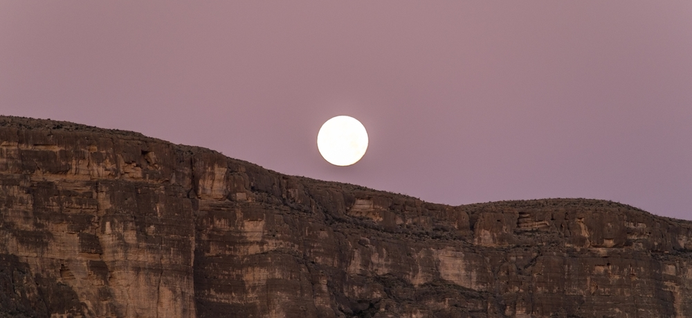 Moonset over Big Bend National Park.