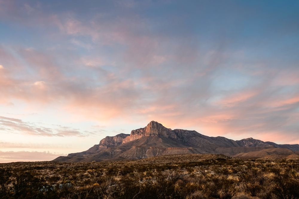 Guadalupe peak with pretty clouds.
