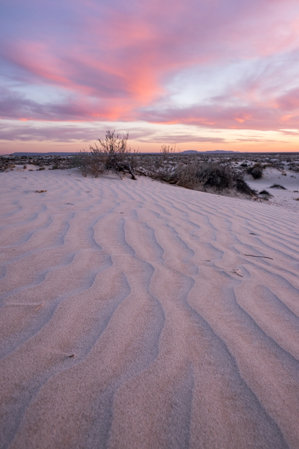 Sunset at Salt Basin sand dunes.