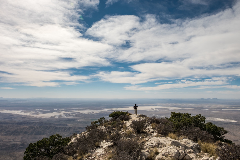 At the top of Guadalupe Mountain Peak in Guadalupe Mountains National Park -- the highest peak in Texas.