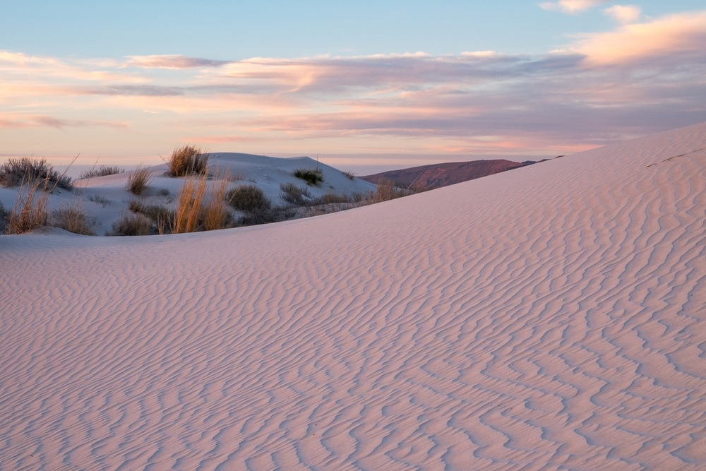 Artful curves and soft colors in the sand dunes.