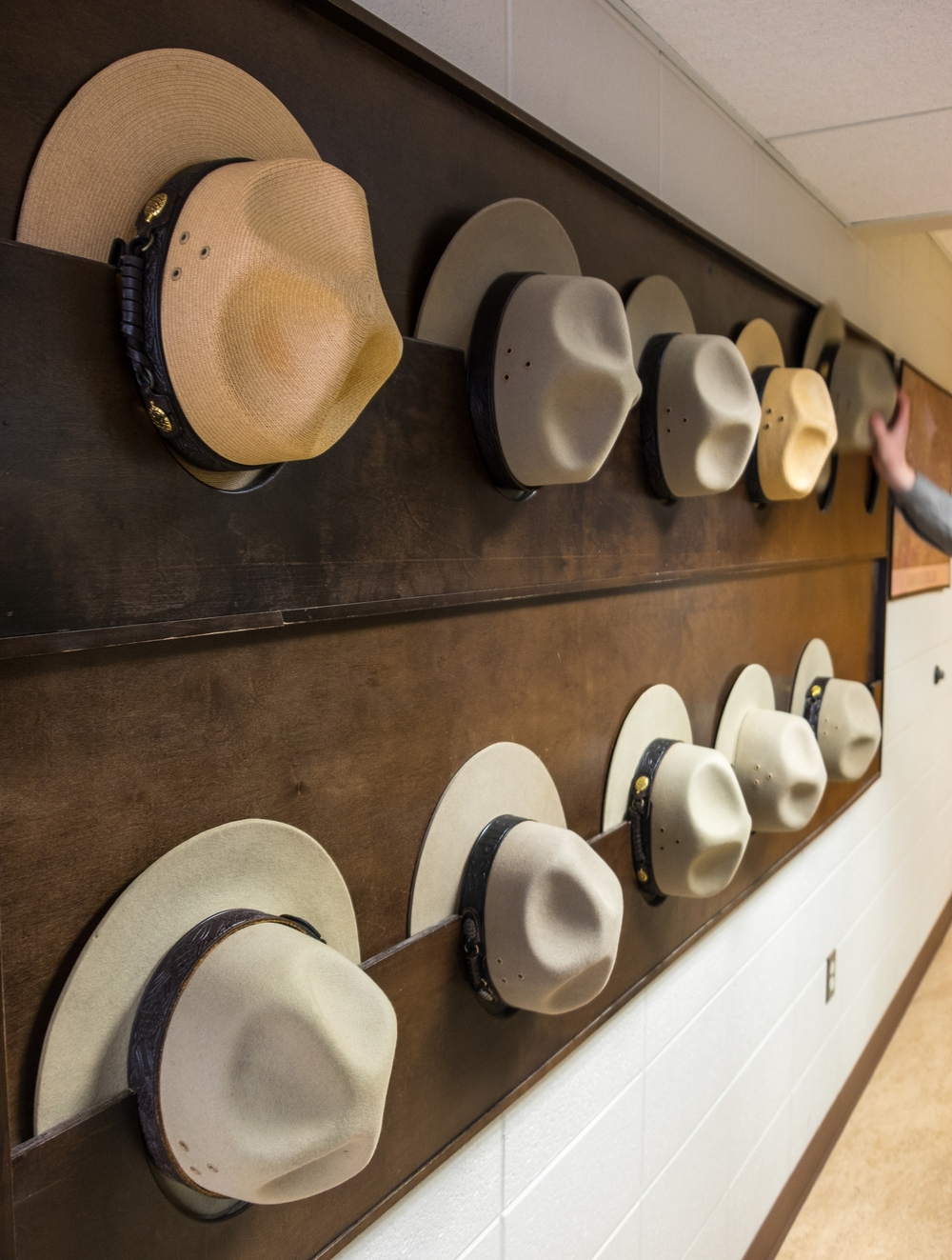 National Park Service ranger hats at Mammoth Cave National Park. | Photo credit: Jonathan Irish #59in52