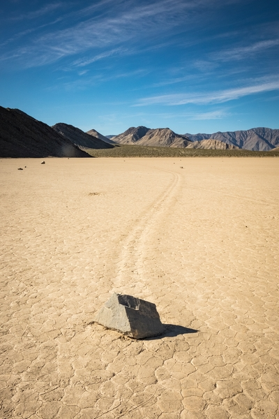 "A ""sailing stone"" lays still at The Racetrack at Death Valley."