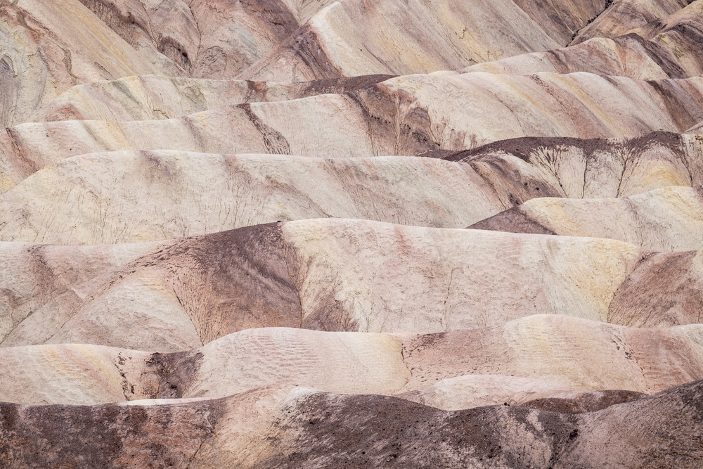 If you zoom in enough, the ripples of Zabriskie's fascinating formations looks like vanilla and chocolate marbled ice cream.
