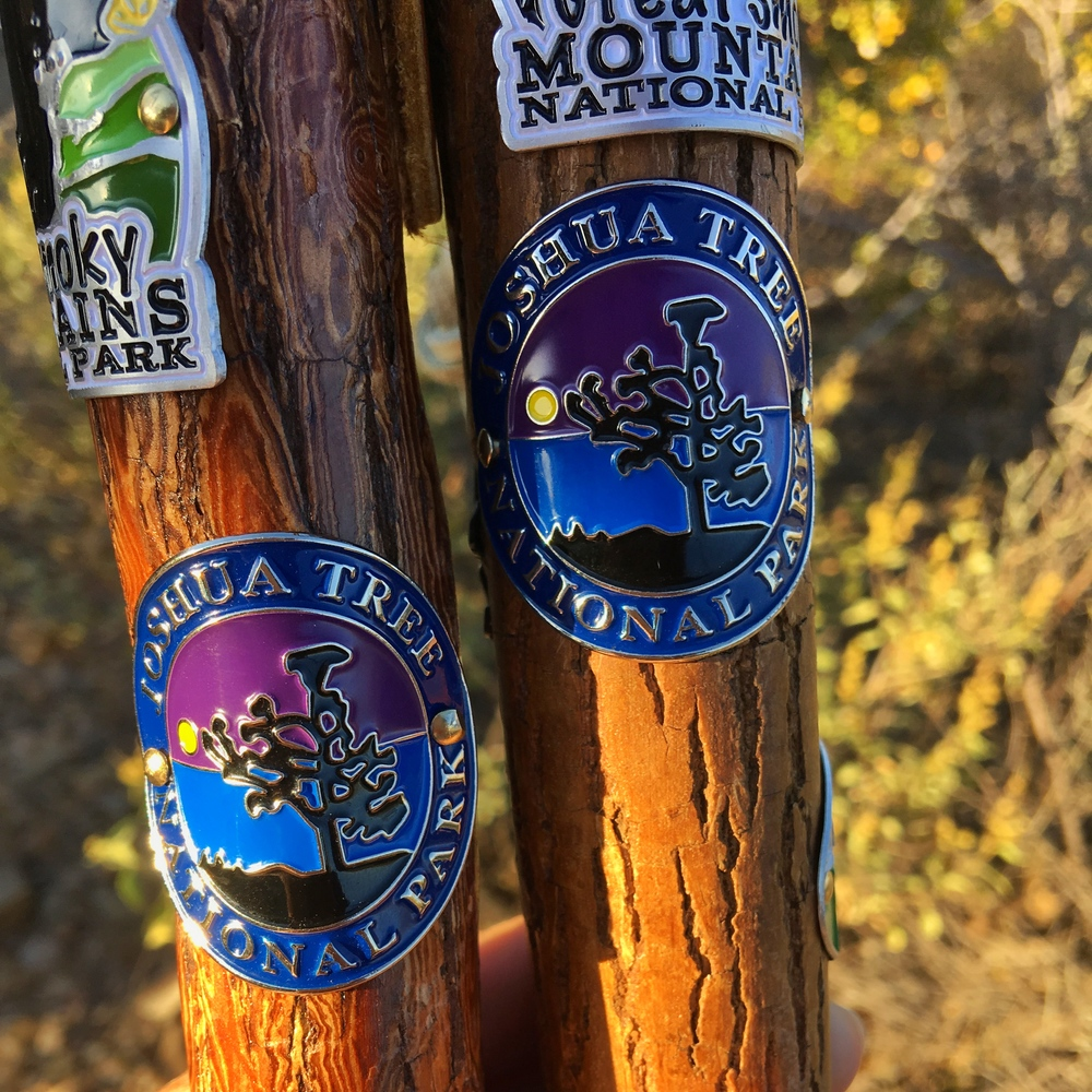 Hiking stick medallions from Joshua Tree National Park in California.