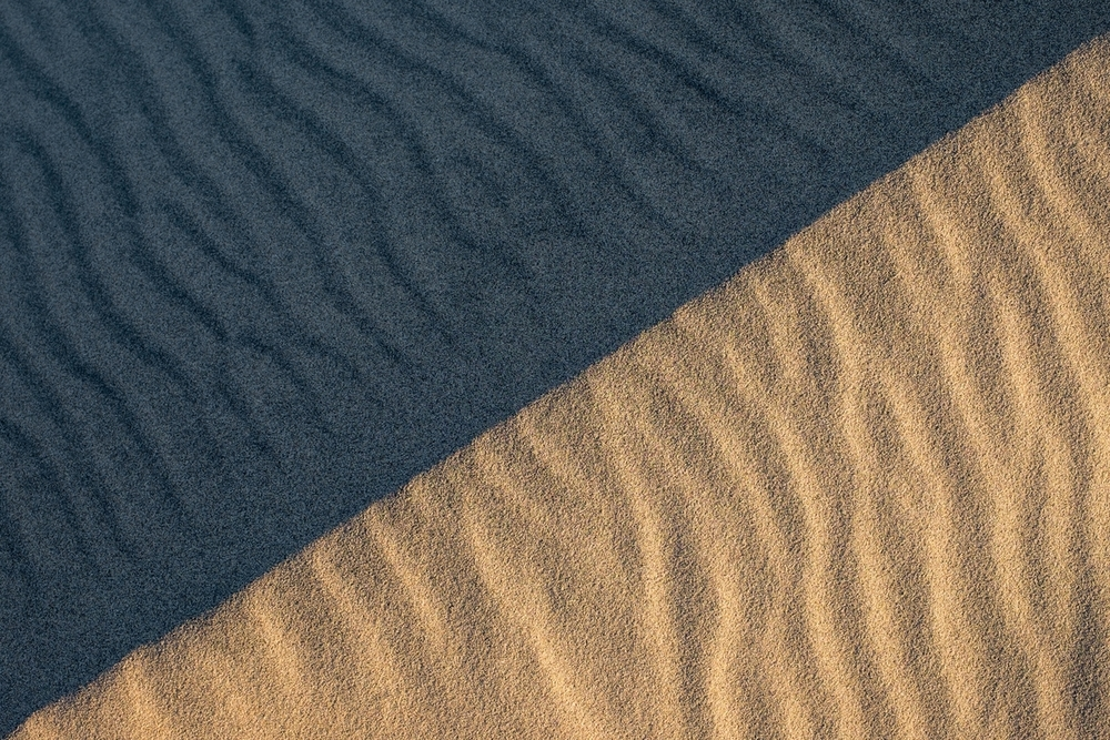 Closeup of the Mesquite Dunes at Death Valley National Park.