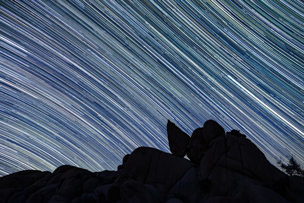 Star trails in Joshua Tree National Park in California.