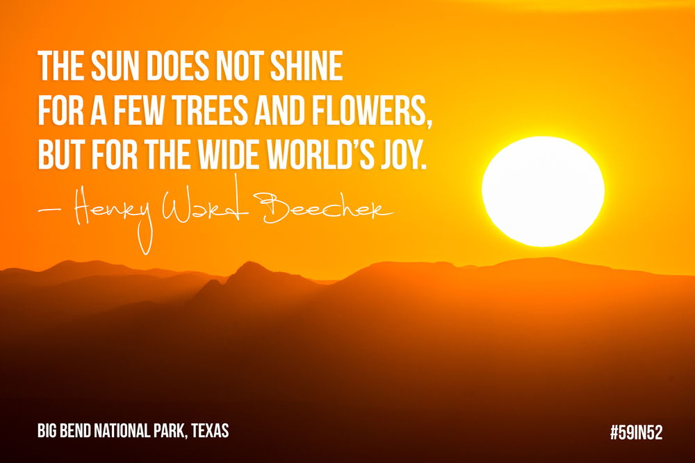 """The sun does not shine for a few trees and flowers, but for the wide world's joy."" - Henry Ward Beecher"