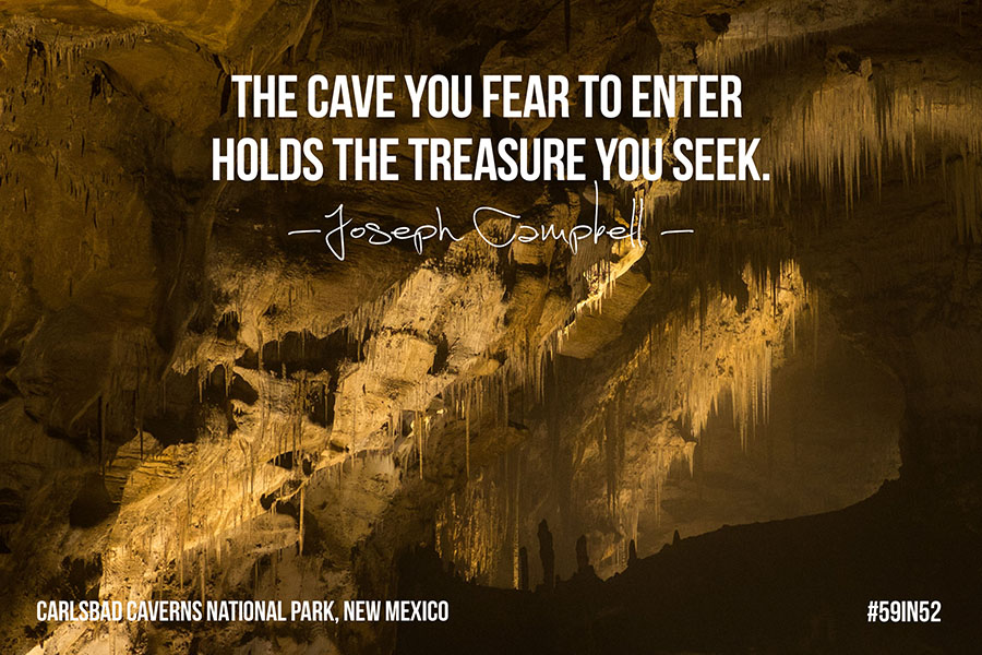 """The cave that you fear to enter holds the treasure you seek."" - Joseph Campbell"