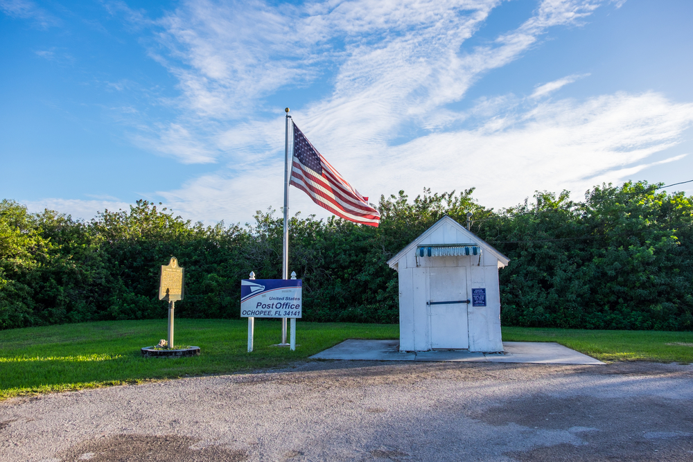 Another of the country's smallest Post Office in Everglades National Park in Florida.