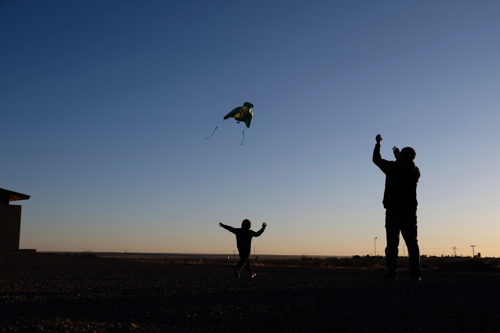 Kite flying at the RV site in Petrified Forest National Park on Easter Sunday with friends.