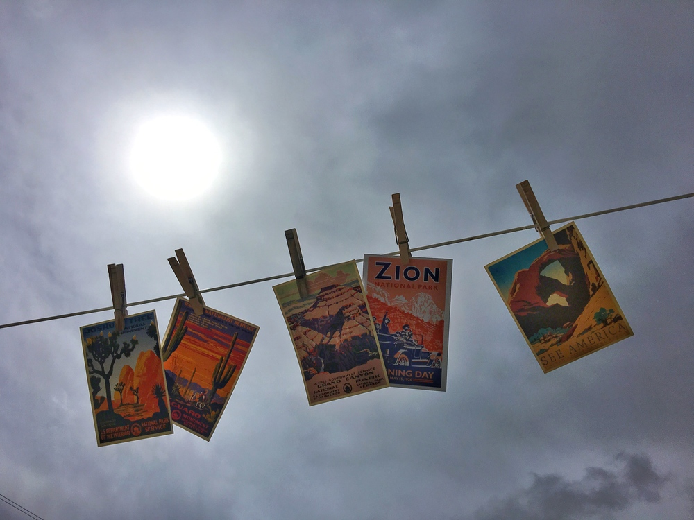 National Park postcards hang from a clothesline in Great Basin National Park in Nevada.