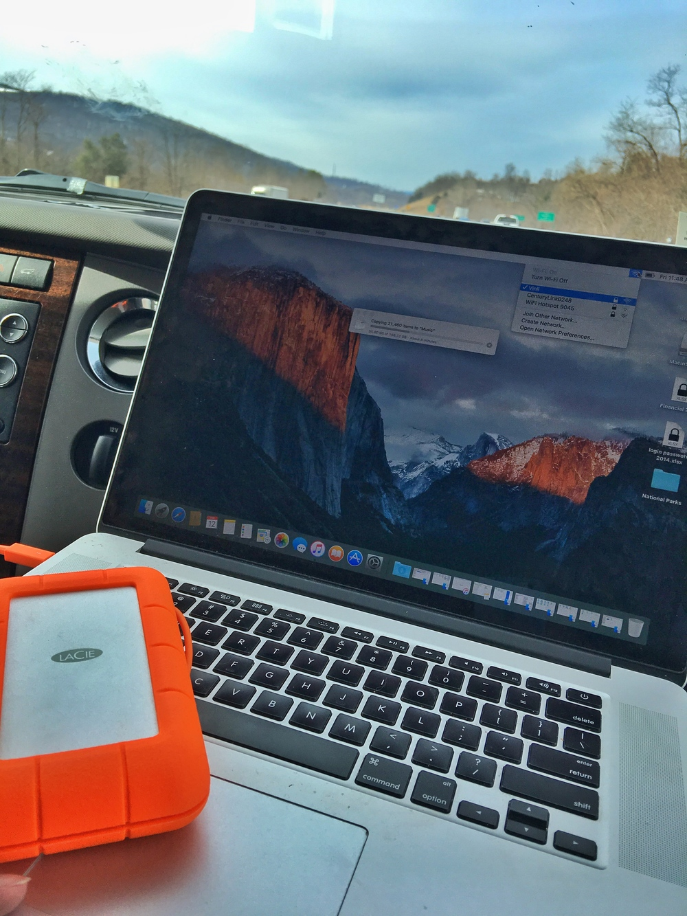 The LaCie uber-megabit external hard drive populates Stef's crashed computer with the help of Vinli mobile wifi on the way to Big Bend National Park in Texas.