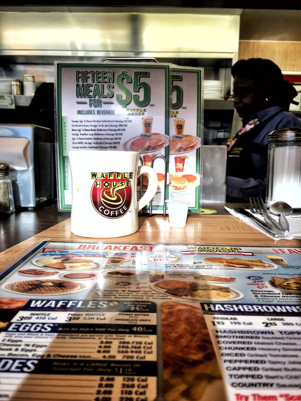 Waffle House is diner breakfast mecca in the deep south! En route to Congaree National Park in South Carolina.