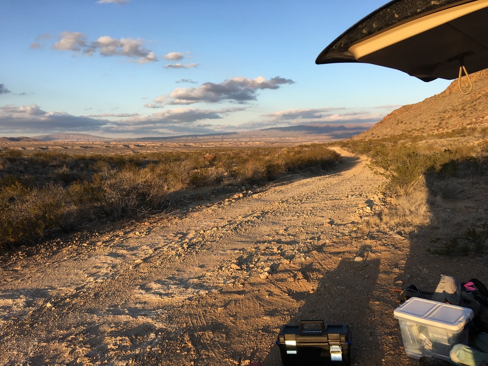 Flat tire during the Golden Hour in Big Bend National Park in Texas.