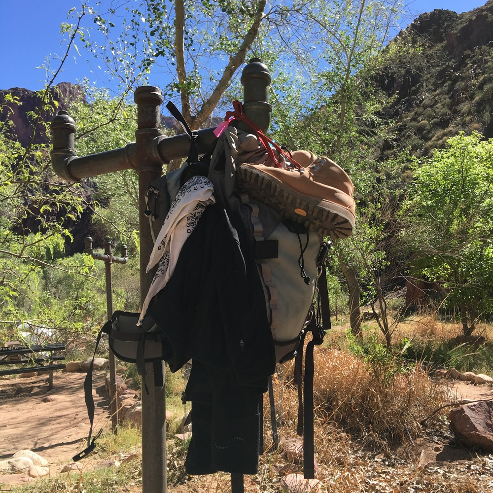 At the bottom of the Grand Canyon, we hang our packs.