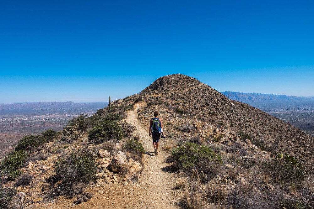 Stef pushing to the top of Tucson, Wasson Peak at 4,687 feet, along the Kings Canyon Trail, Saguaro West.