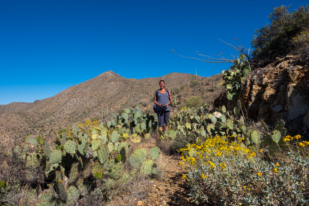 Stef poses among the prickly cactus.
