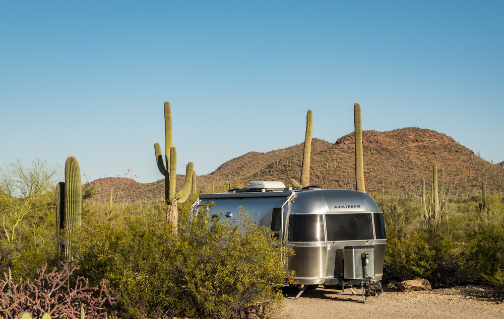 Our back-in campsite in Saguaro National Park.