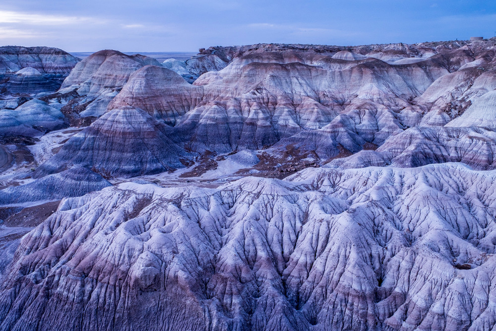 Classic shot from the rim of Blue Mesa, taken just after the sunset.
