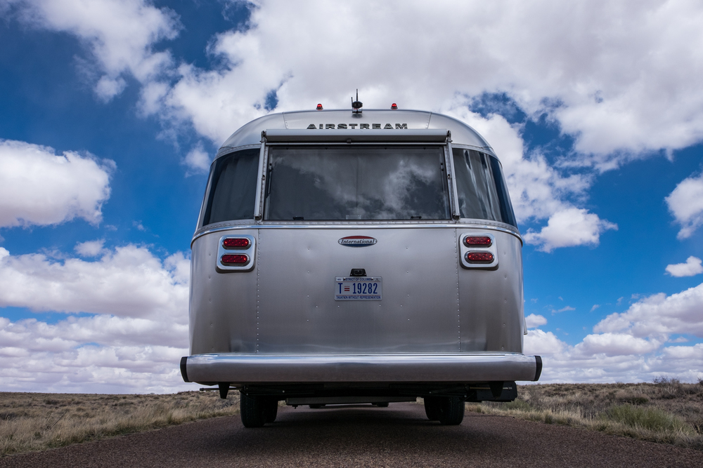 Our Airstream International Signature on Route 66 in Petrified Forest National Park in Arizona -- the only national park where the historic highway lives inside park boundaries.