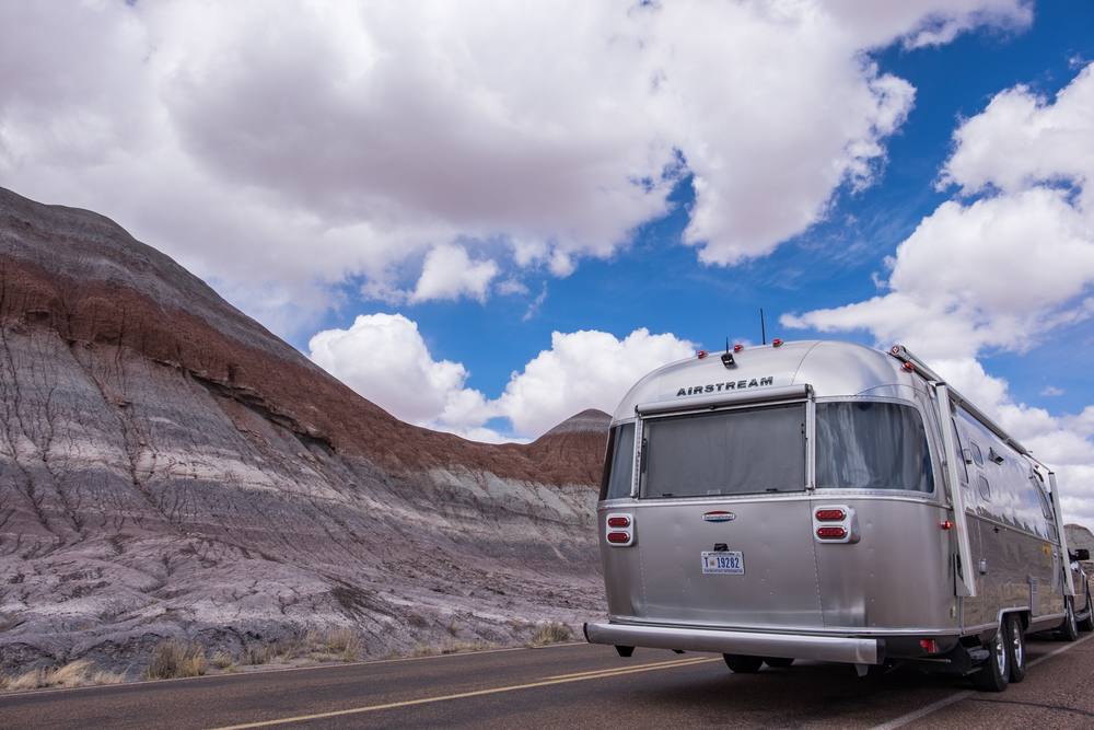 Wally the Airstream in Petrified Forest National Park in northern Arizona.