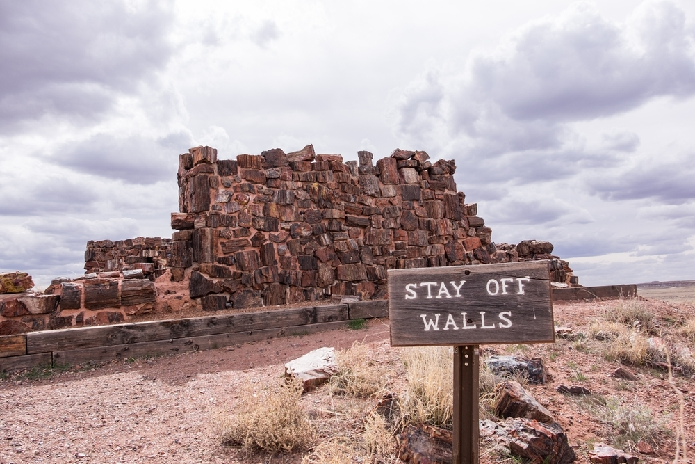 """Stay off walls!"" (...of the ancient Pueblo ruin...) at Petrified Forest National Park in northern Arizona."