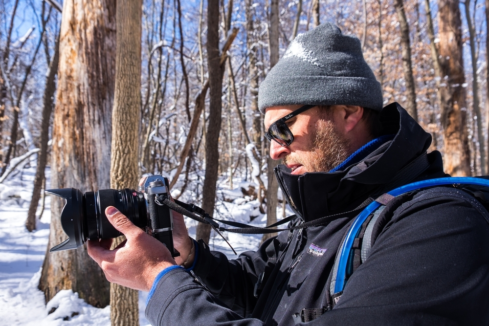 Jonathan checking Stef's settings in Cuyahoga Valley National Park.