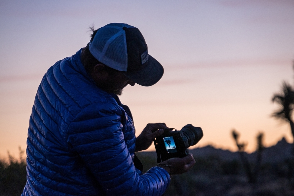 Jonathan catching the sunset in Joshua Tree National Park in California.